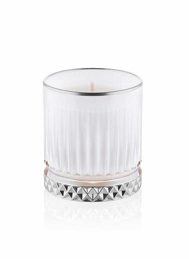 The Mia Cam İçi Dolu Mumluk - Beyaz Gümüş 10 X 8 Cm Renkli